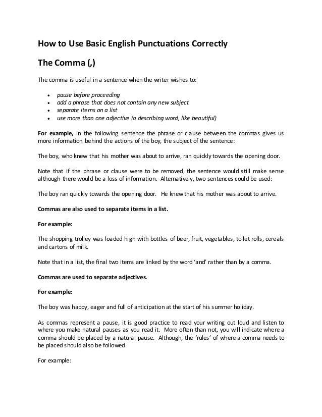 How To Use Basic English Punctuations Correctly