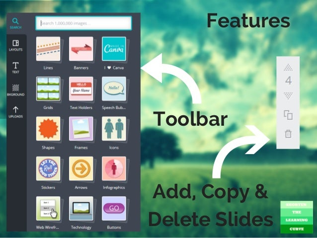 Features Toolbar Add Copy Delete Slides