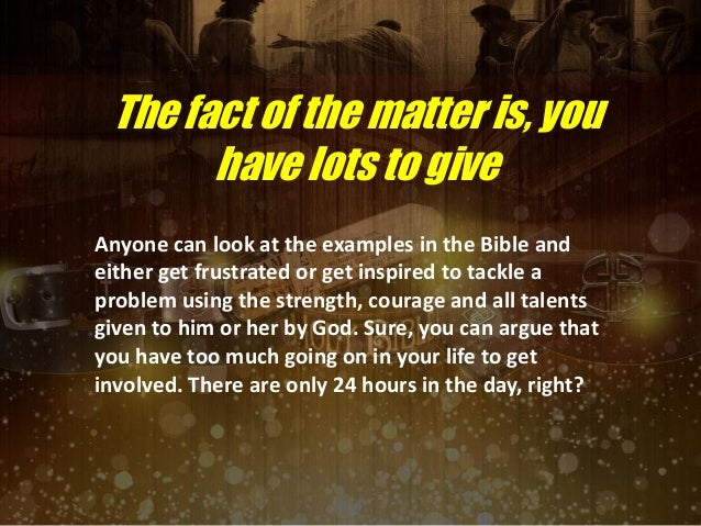 Examples Of Good Deeds In The Bible