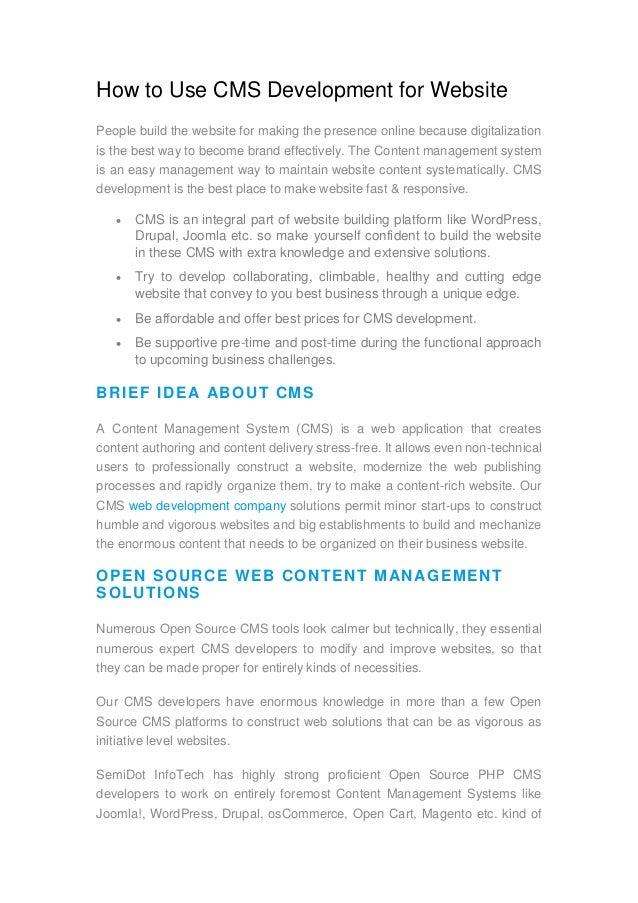How to use cms development for website semidot infotech!!