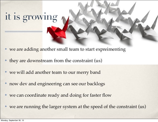 it is growing  ✤  we are adding another small team to start expreimenting  ✤  they are downstream from the constraint (us)...