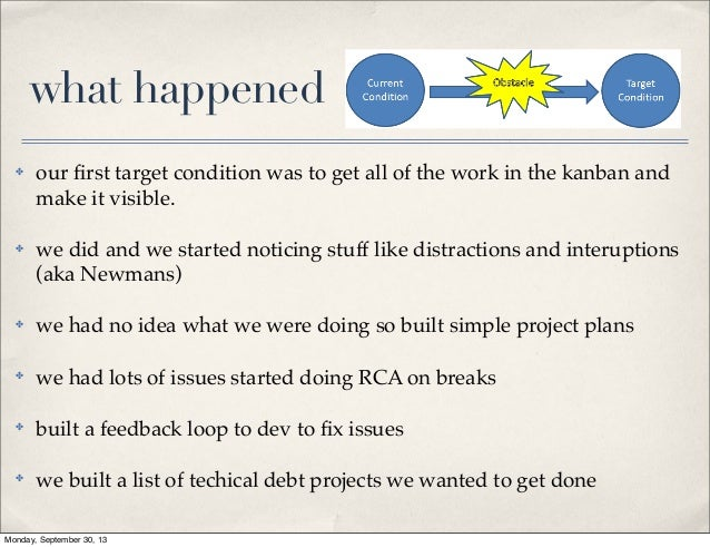 what happened ✤  our first target condition was to get all of the work in the kanban and make it visible.  ✤  we did and we...