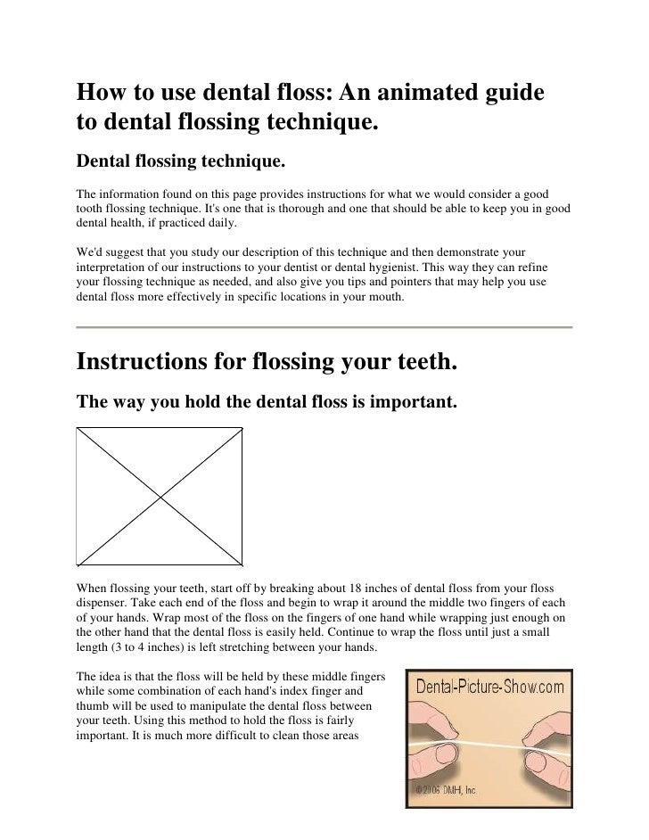 How to use dental floss: An animated guideto dental flossing technique.Dental flossing technique.The information found on ...
