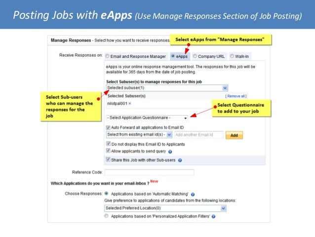 Posting Jobs with eApps (Use Manage Responses Section of Job Posting)