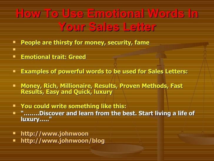 How To Use Emotional Words In Your Sales Letter