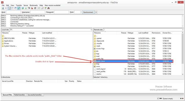 annapurna - anna@annapurnaacademyedunp - FiIeZiIIa  File Edìt 'fiew Transfer Server Bookmarks Help Newversionavailable!   i...