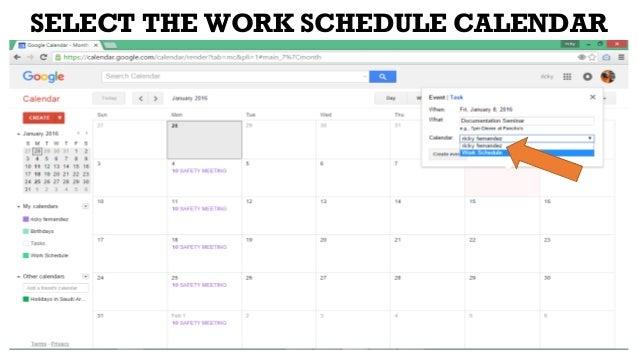 work schedule calender