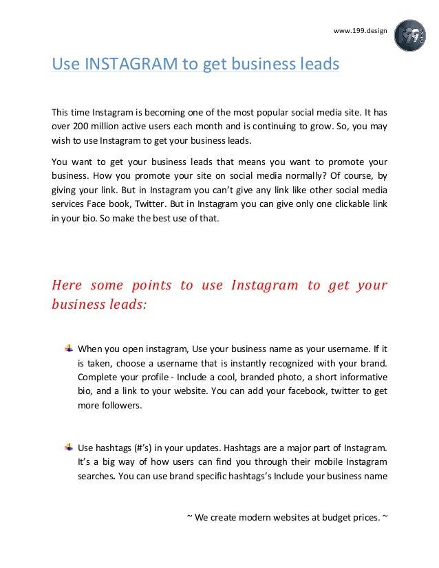 How to use instagram to get business leads 199sign we create modern websites at ccuart Images