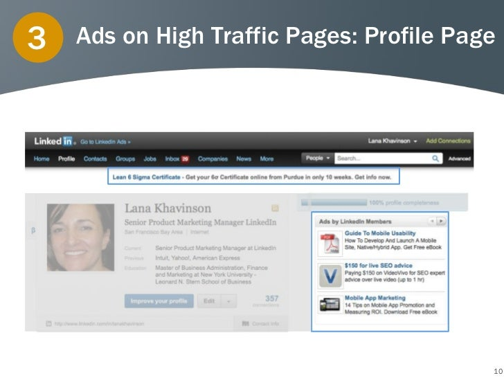 3   Ads on High Traffic Pages: Profile Page                                          10