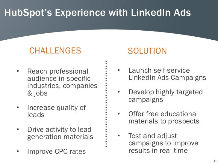 HubSpot's Experience with LinkedIn Ads      CHALLENGES                   SOLUTION  •   Reach professional       •   Launch...