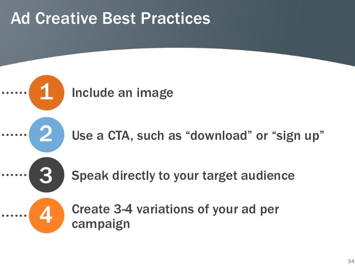 """Ad Creative Best Practices   1   Include an image   2   Use a CTA, such as """"download"""" or """"sign up""""   3   Speak directly to..."""