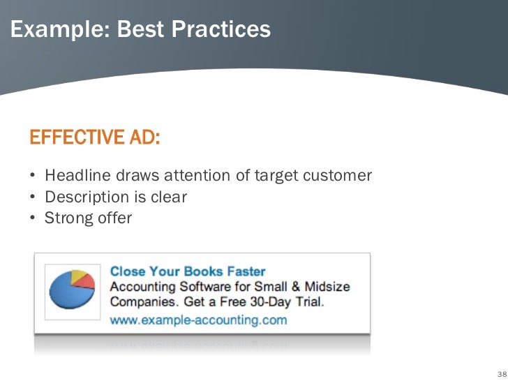 Example: Best Practices EFFECTIVE AD: • Headline draws attention of target customer • Description is clear • Strong offer ...