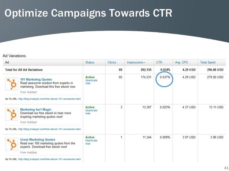 Optimize Campaigns Towards CTR                                 41