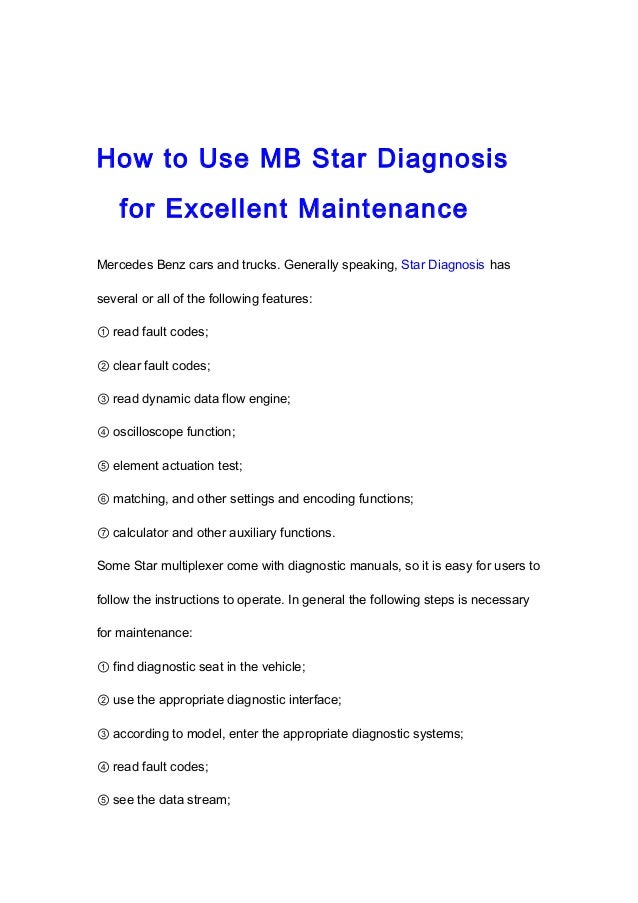 How to use mb star diagnosis for excellent maintenance