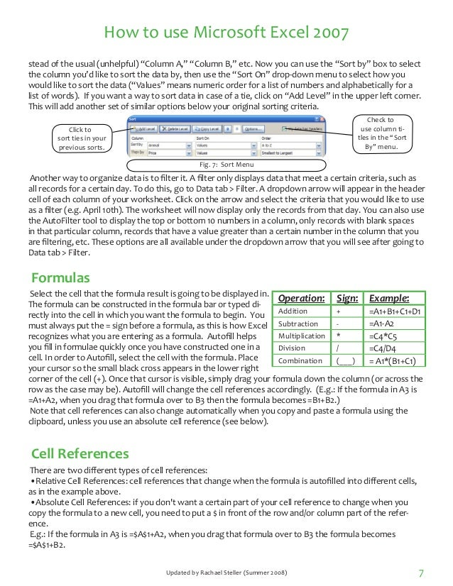 how to use microsoft excel 2007