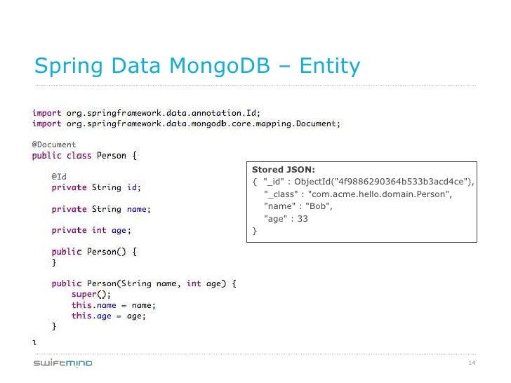 "Spring Data MongoDB – Entity                  Stored JSON:                  { ""_id"" : ObjectId(""4f9886290364b533b3acd4ce"")..."