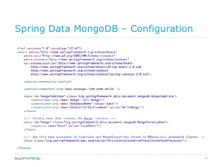 Spring Data MongoDB – Configuration                                      15