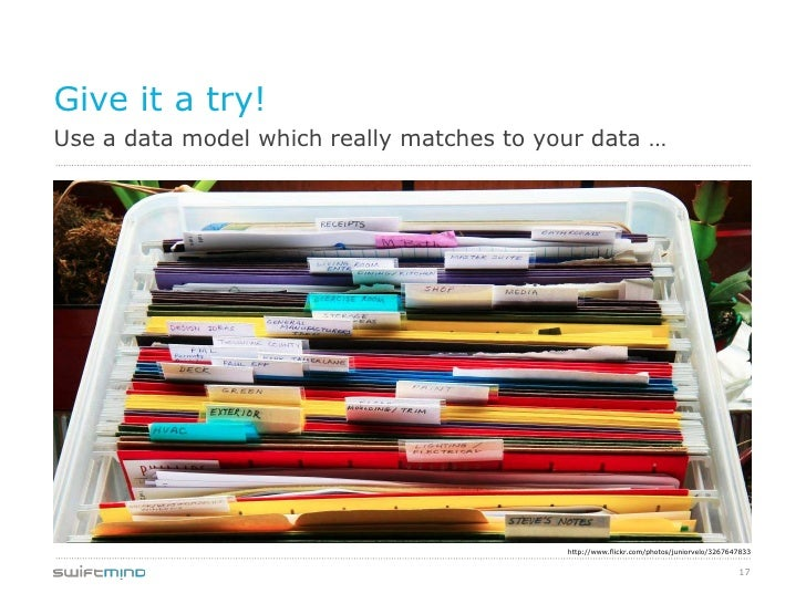 Give it a try!Use a data model which really matches to your data …                                           http://www.fl...