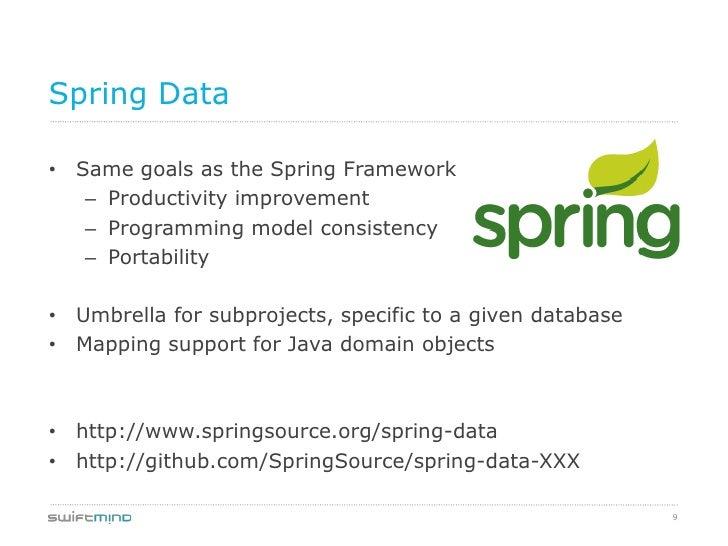 Spring Data• Same goals as the Spring Framework   – Productivity improvement   – Programming model consistency   – Portabi...