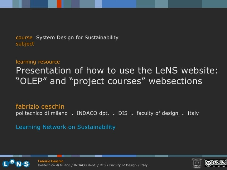 """course System Design for Sustainability subject   learning resource Presentation of how to use the LeNS website: """"OLEP"""" an..."""