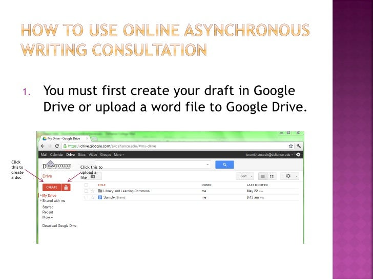 1.   You must first create your draft in Google           Drive or upload a word file to Google Drive.Clickthis to        ...