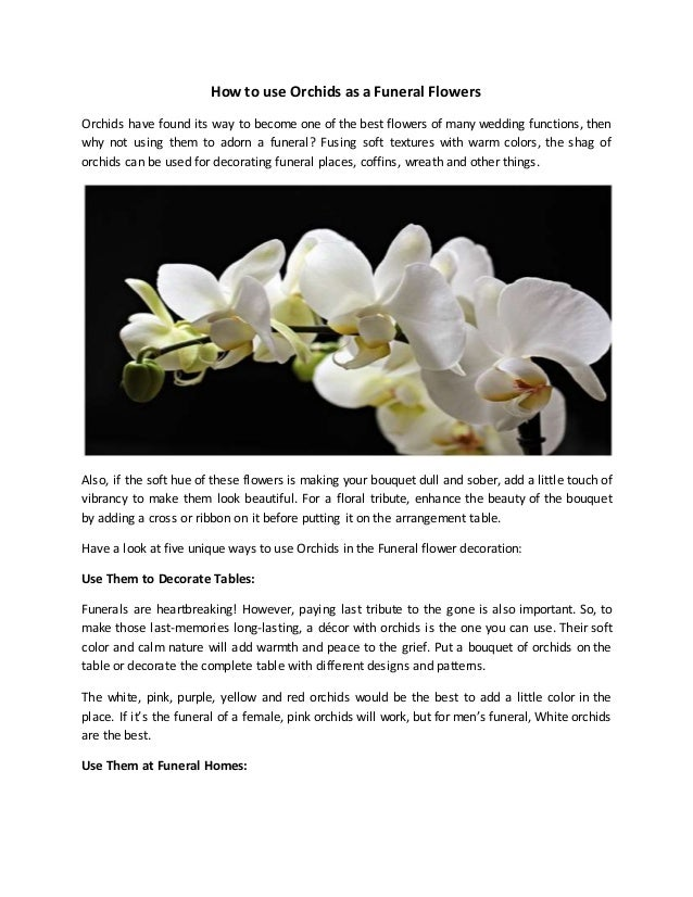 How to use orchids as a funeral flowers