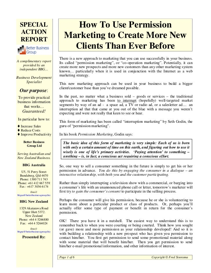 SPECIAL                             How To Use Permission  ACTION  REPORT                                   Marketing to C...