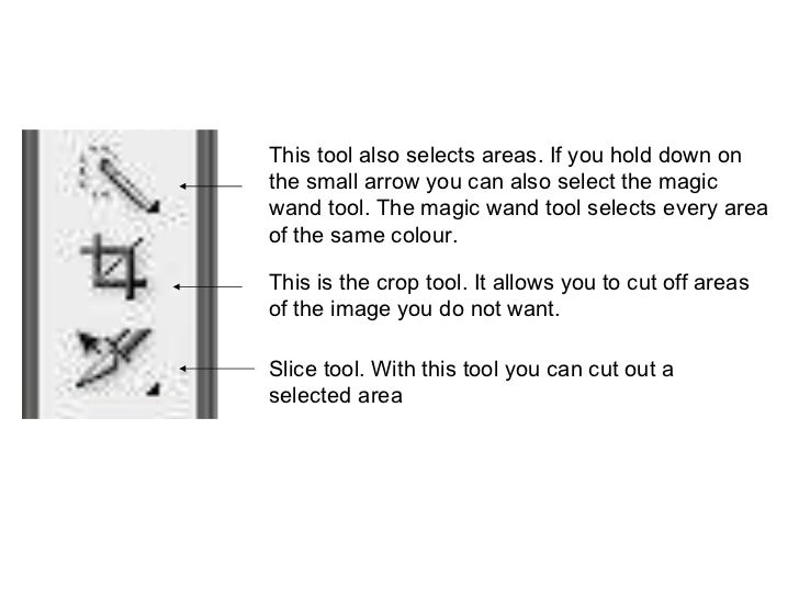 This tool also selects areas. If you hold down on the small arrow you can also select the magic wand tool. The magic wand ...