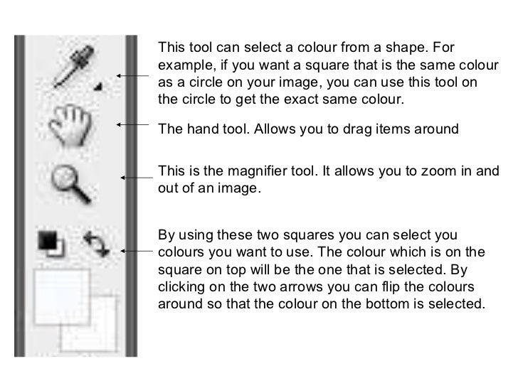 This tool can select a colour from a shape. For example, if you want a square that is the same colour as a circle on your ...