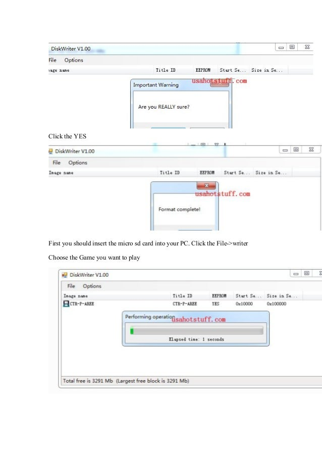 Sky3DS Tutorial] How to use sky3ds disk writer for writing