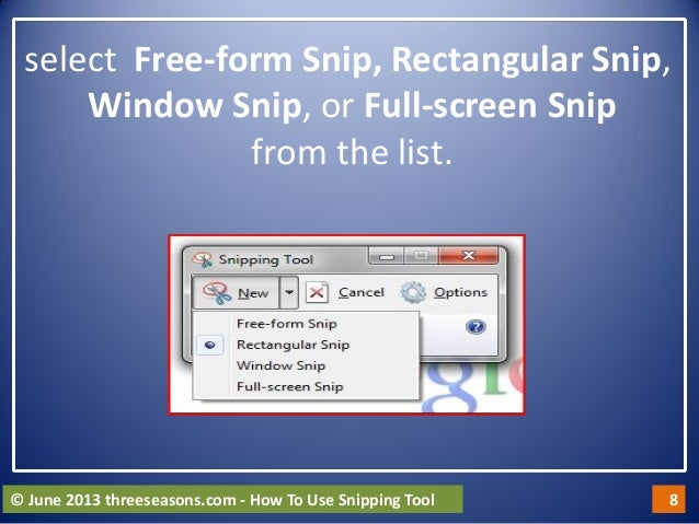 how to snip tool on windows 8