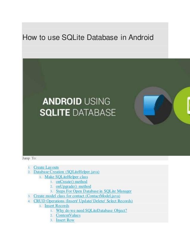 ANDROID USING SQLITE DATABASE ADMINISTRATORS ~HMFTJ