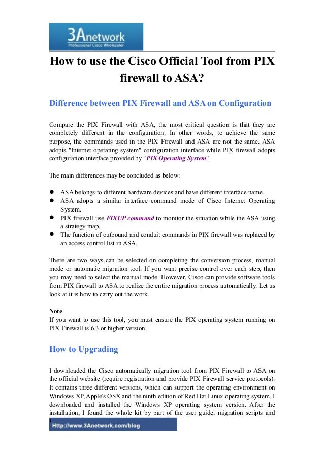 How to use the cisco official tool from pix firewall to asa