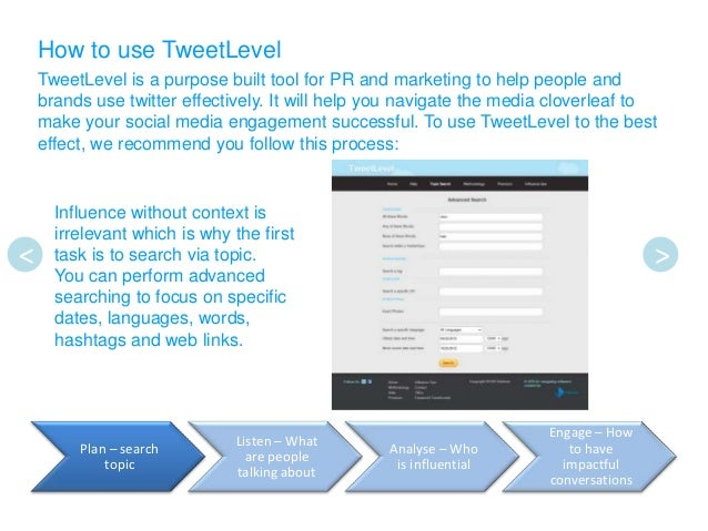 How to use TweetLevel    TweetLevel is a purpose built tool for PR and marketing to help people and    brands use twitter ...