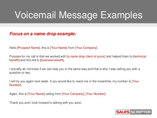 Pretty voice mail template images example resume ideas alingari how to use voicemail as a sales prospecting tool m4hsunfo Images