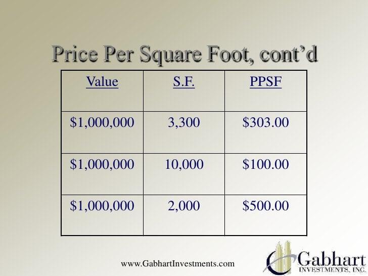Price Per Square Foot, cont'd    Value              S.F.               PPSF  $1,000,000          3,300              $303.0...