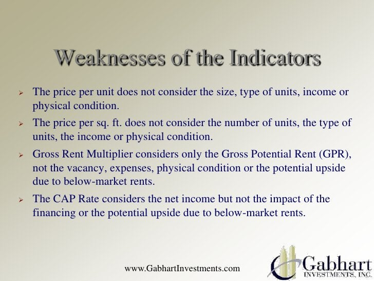Weaknesses of the Indicators   The price per unit does not consider the size, type of units, income or    physical condit...