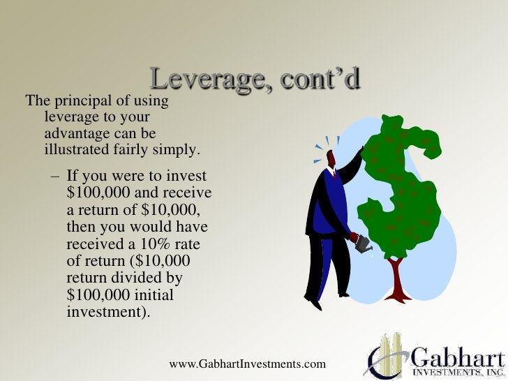 Leverage, cont'dThe principal of using  leverage to your  advantage can be  illustrated fairly simply.    – If you were to...