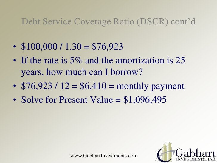 Debt Service Coverage Ratio (DSCR) cont'd• $100,000 / 1.30 = $76,923• If the rate is 5% and the amortization is 25  years,...