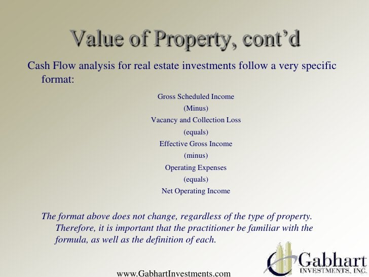 Value of Property, cont'dCash Flow analysis for real estate investments follow a very specific  format:                   ...