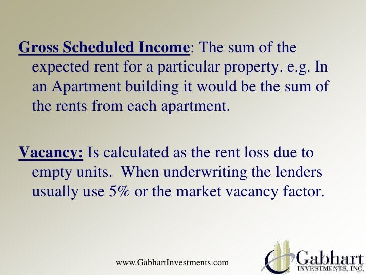 Gross Scheduled Income: The sum of the expected rent for a particular property. e.g. In an Apartment building it would be ...