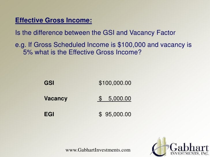 Effective Gross Income:Is the difference between the GSI and Vacancy Factore.g. If Gross Scheduled Income is $100,000 and ...