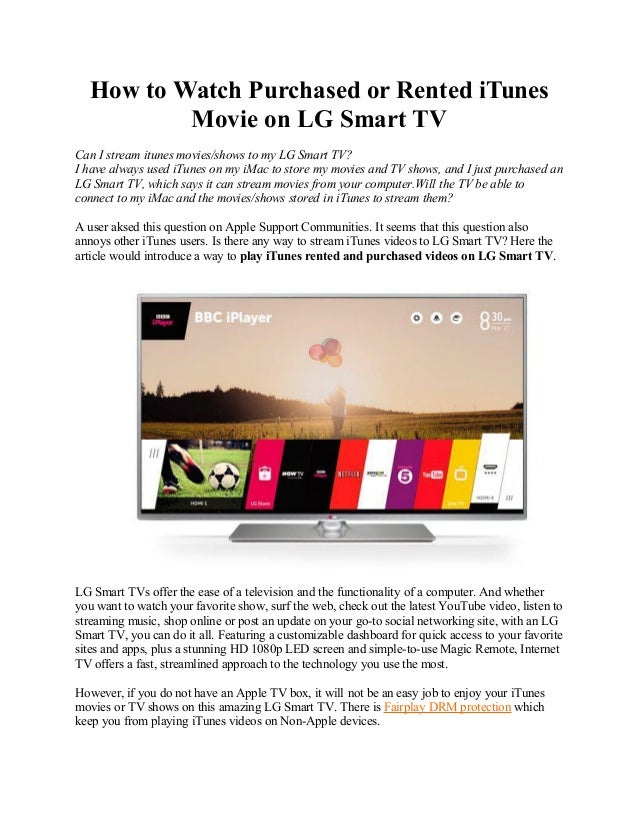 How to watch purchased or rented i tunes movie on lg smart tv