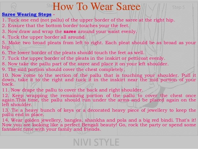 how to wear bengali saree step by step