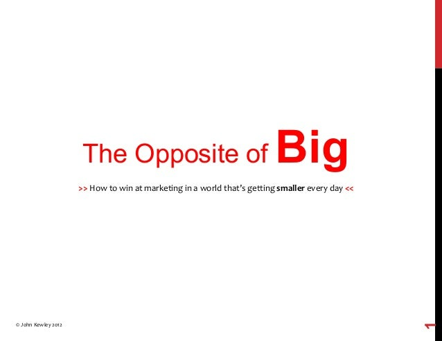 The Opposite of Big >>  How  to  win  at  marketing  in  a  world  that's  getting  smaller  every...
