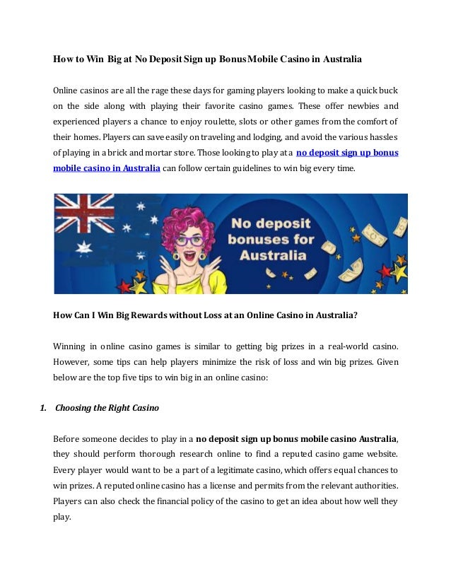 No Deposit Sign Up Bonus Casino Australia