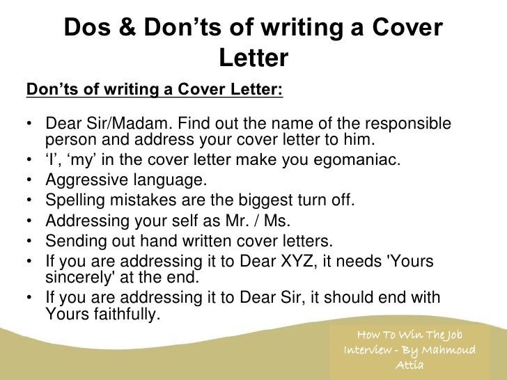 writing a cover letter to someone unknown