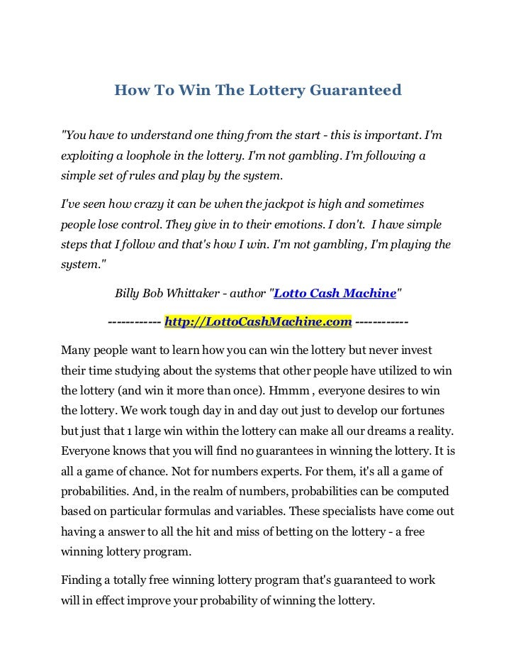 """How To Win The Lottery Guaranteed""""You have to understand one thing from the start - this is important. Imexploiting a loop..."""