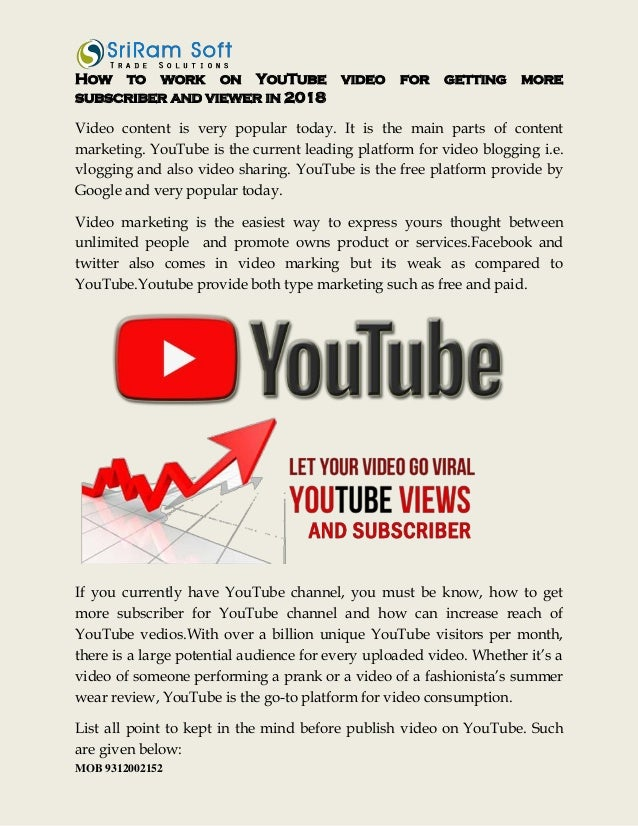 How to work on you tube video for getting more subscriber