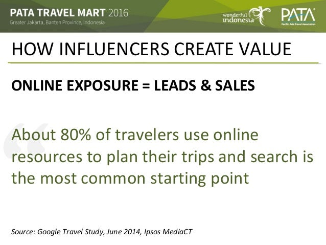 """"""" HOW INFLUENCERS CREATE VALUE ONLINE EXPOSURE = LEADS & SALES About 80% of travelers use online resources to plan their t..."""